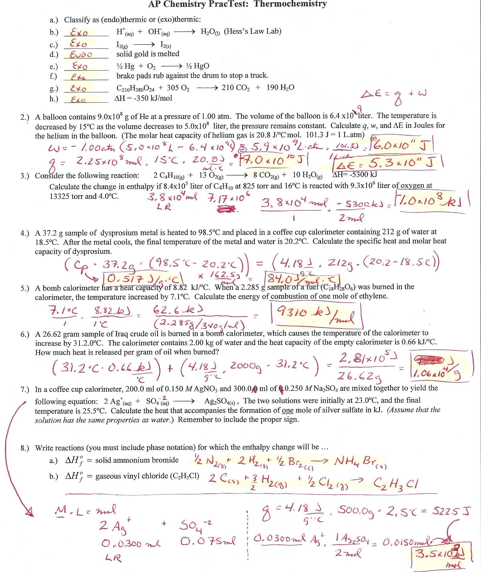 thermochemistry lab answers